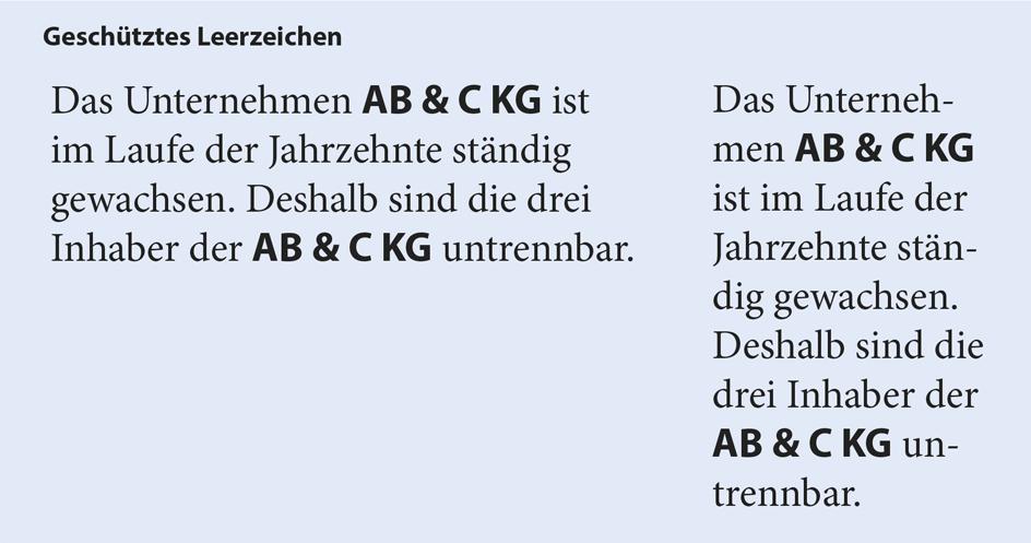 geschütztes Leerzeichen in Typografie und Layout InDesign