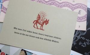 So schön kann Weihnachten sein: liebevoll gesetzte Grußkarte im Handsatz, gesetzt mit Lenolschnitt.
