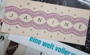 Verführerisch: Visitenkarte eines Modesalons in Basel.