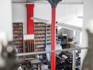 Druckwerkstatt mit TypeSCHOOL in der Offizin Haag-Drugulin zu Dresden.