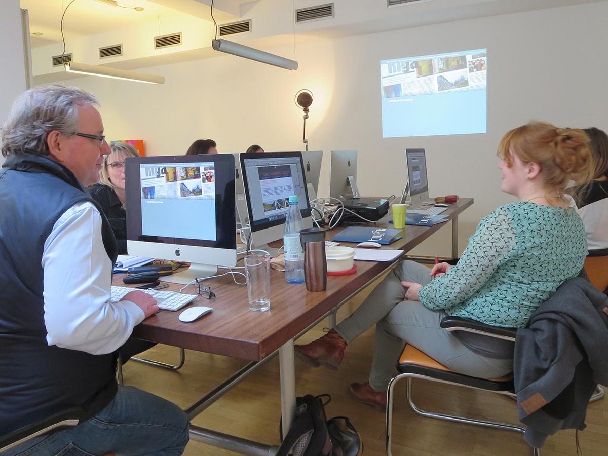 Teilnehmer beim Training zum Thema Detailtypografie im April 2016 in Düsseldorf.