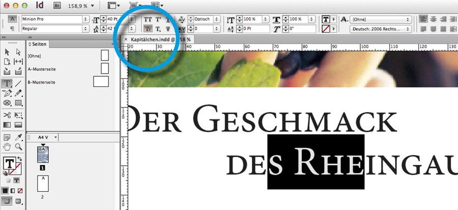 Digitales Kapitaelchen in InDesign