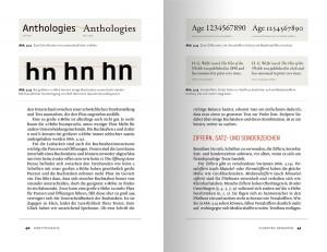 Beispielseite über Besonderheiten der Typografie zur Verbesserung der Lesbarkeit und Kommunikation: x-Höhen von Schrift, Ziffernarten.