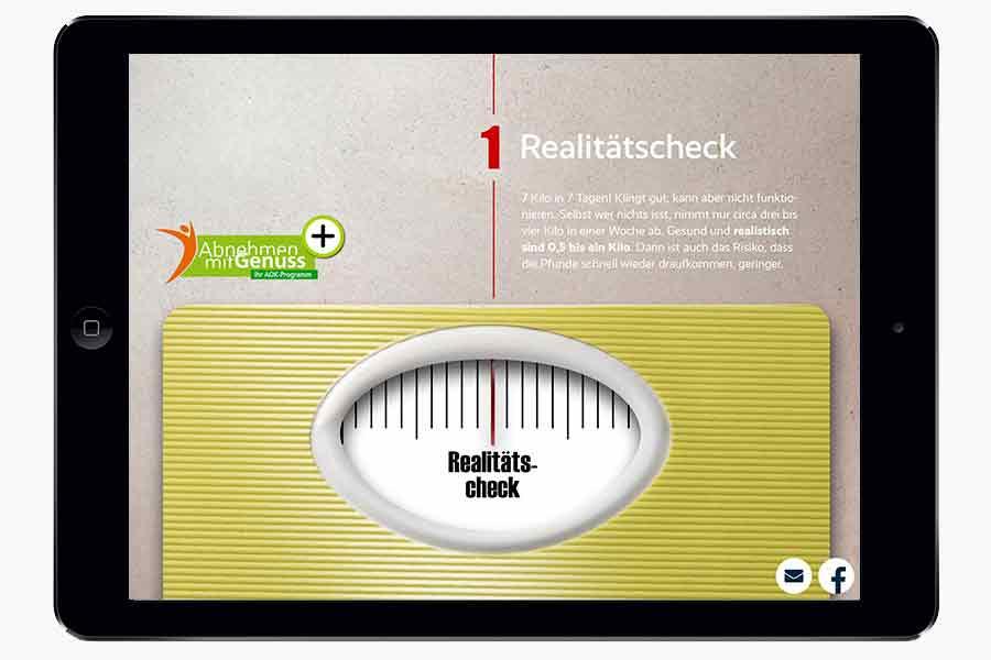 Der Scroll-Effekt in der Waage ist eines der Highlights der AOK-App Bleib gesund.