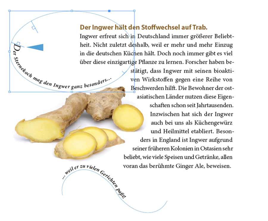 Zwei Beispiele für den Einsatz von Text auf Pfaden mit Adobe InDesign