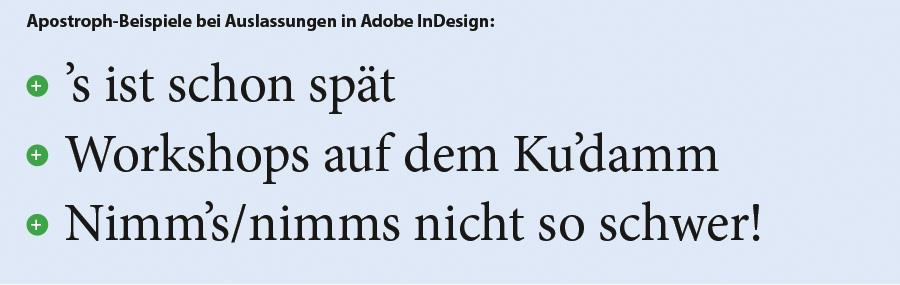 Beispiele für den Apostroph als Auslassungszeichen in Adobe InDesign