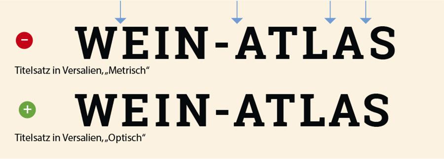 Optisches und metrisches Kerning im versalen Titelsatz.