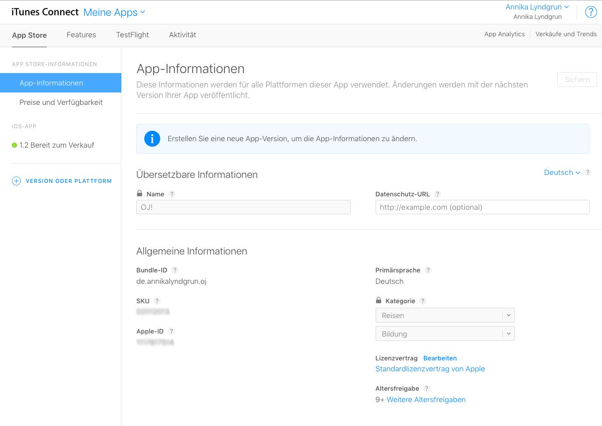 Apps publizieren im App-Store: Informationen anlegen