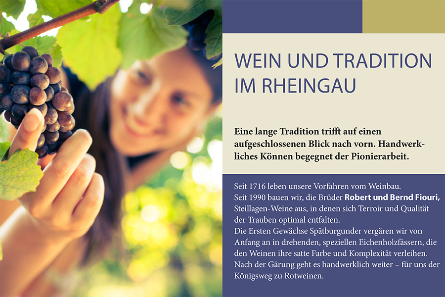 """ie Fonts Myriad Pro und Minion Pro als """"schnelle Anwendung"""" von Schriftmischung und Schriftauszeichnung im Corporate Design eines Weinguts."""
