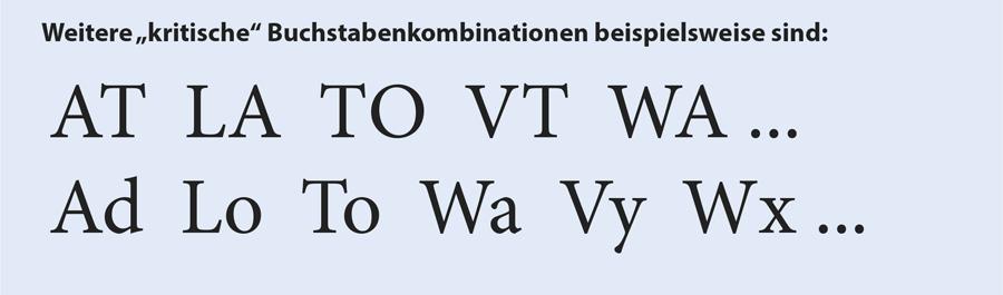 Kerning bei Buchstabenkombinationen in Typografie und Layout