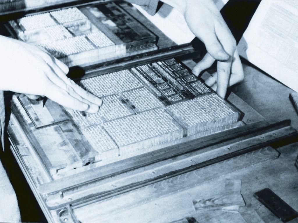 Gesetzter Text im Bleisatzhandwerk