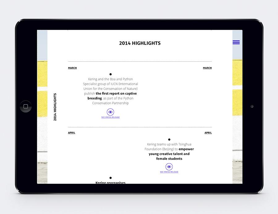 Tablet App des Kering Geschäftsberichts