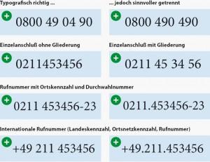 Schreibweisen von Telefonnummern in der Typografie mit InDesign