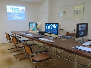 Räumlichkeiten für den Workshop zum Thema Print-Produktion, Druckvorstufe und Reinzeichnung in Düsseldorf.