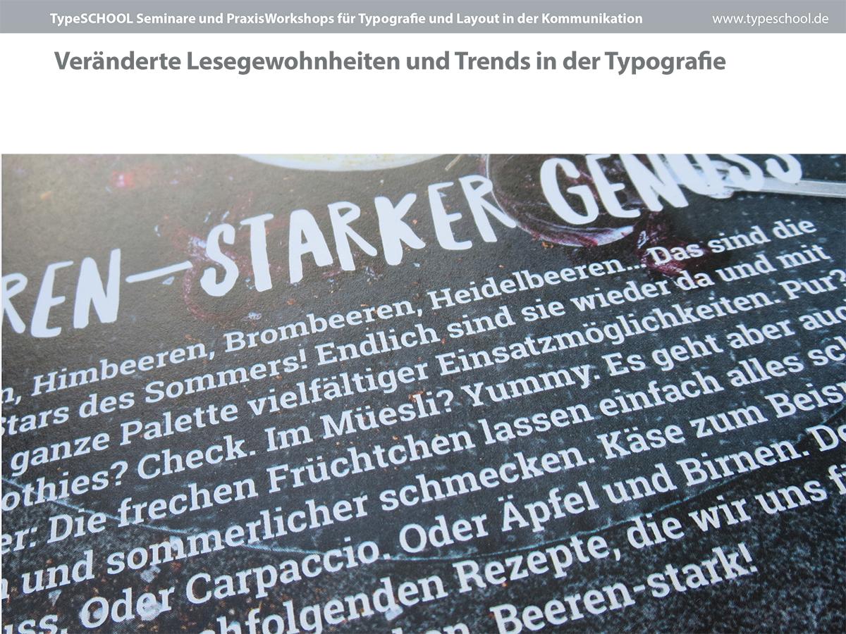 Neiue Trends in der Typografie, Lesetext mit Slab Serif Fonts im Magazin Migros, Schweiz
