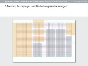 Typografie Gestaltungsraster Layout im Workshop TypeSCHOOL