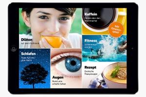 Das Inhaltsverzeichnis der AOK-App Bleib gesund setzt auf Kacheln in unterschiedlicher Größe