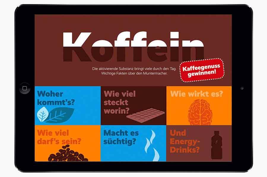 Der Artikel über Koffein in der Bleib gesund App setzt auf ein Kachel Inhaltsverzeichnis.