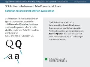 Anwendungsbeispiel für Schriften mischen und Schriften auszeichnen in der Typografie