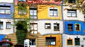 Das Hundertwasser Haus in Wien, Österreich.