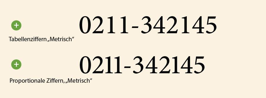 Optisches und Metrisches Kerning bei Zahlen und Tabellenziffern.