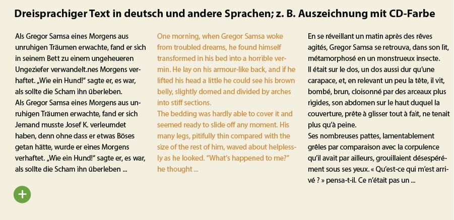 Fremdsprachensatz typografisch korrekt auszeichnen mit Farben