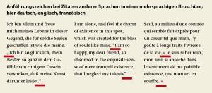 Typografie für Lektoren: Zitate/Anführungen in mehrsprachigen Broschüren