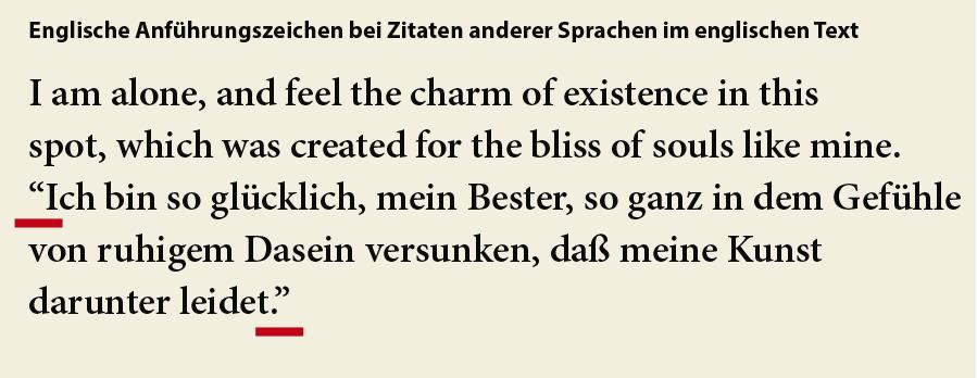 Typografie für Lektoren: Fremdsprachiger Text, deutsch- oder anderssprachige Zitate/Anführungen