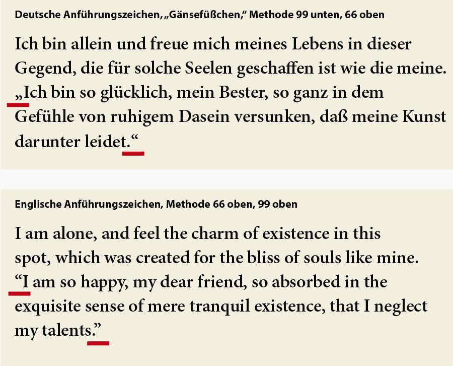 Typografie für Lektoren: Anführungszeichen in deutscher und englischer Sprache