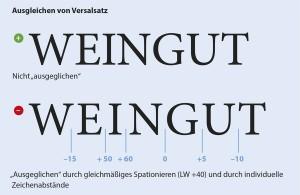 Ausgleichen von Versalsatz in Typografie und Layout